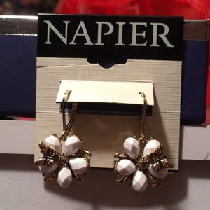 Napier New Flower Earrings with Tiny Butterfly